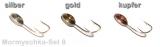 Mormyschka Set Nr. 8 zum Eisangeln 6 Stück, silber, gold, kupfer