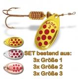 Spinner MAPSO Set gold, silber, kupfer mit roten Punkten, 9 Stück