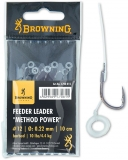 Browning Feeder Leader Method Power Pellet Band Vorfachhaken, 10cm 6 Stück